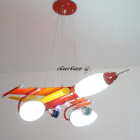 Modern Kids Room Lamps Iron Plane Glass Lamp Shade Pendant Light Fixtures  Cartoon Child Lighting PL269-RE