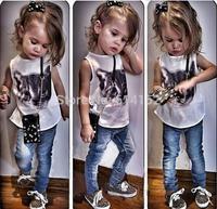 2015 summer new baby girls clothing set Europe 100% Cotton cartoon cat Vest+Jeans 2pcs kids set,baby,girls children clothing set
