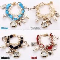 New Fashion Women Elegant Lady Casual Watches Beads Strap Bow Hanging Chain Wrist Watch female Dress Wristwatch b4
