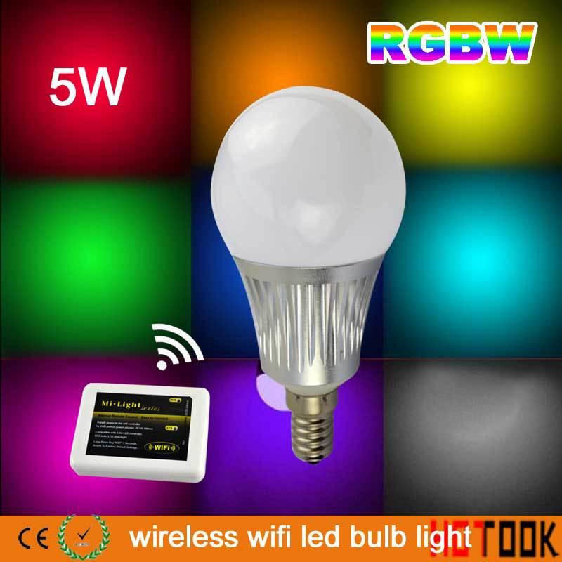 5W E14 Smart 2.4G MI Light Wireless WIFI LED Bulb Lamp Spotlight RGBW LED Spot Light led WIFI Controller for Smart Mobile Phone(China (Mainland))