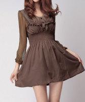 2015 Spring summer dress women Fashion Bud silk sleeves skirt Casual bodycon dress chiffon princess skirt Three color