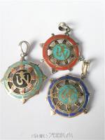 TBP820 Tibetan Golden Hollow Kingkong Wheel OM Amulets Pendant,Nepal metal inlaid turquoise pendants Wholesale Tibet Jewelry