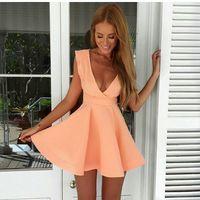 dress 2015 vestidos spring explosion models top selling low-cut sleeveless pink women dress casual dress vestido de festa