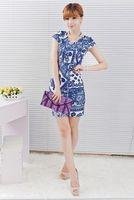 Summer dress 2015 Free Shipping 3 colors S-3XL women's fashion print loose dress plus size dress Print Flare Floral casaul dress
