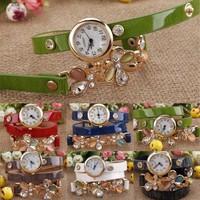 New Fashion Women Dress Watches Lady Elegant Flower Sling Chain Wrist Watch Wrap Circle Button female Wristwatch b4