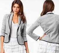 2015 New Fashion Spring Women Suits Short Design Turn Down Collar Slim Jackets Grey Short Coat For Women Lady Girls