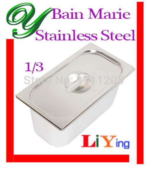 Stainless Steel Bain Marie 3L Food Pan Buffet Warmer Inserts Icecream tray Soup stock pot tureens basin storage box bin with lid(China (Mainland))
