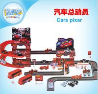 Free shipping! Cartoon 3 layers car pixar stereo track parking lot toys automatic race carros 2 pixar cars set bus car boys toys