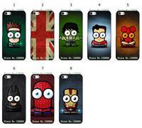 Hot 8pcs/lots Cute Cartoon Superhero Design Protective Black Hard Case Cover For Iphone 6 Free Shipping