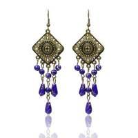 DIY New Rhinestones Color Stone Drop Earrings Alloy Resin Pellets Dangle Ethnic Jewelry Earrings For Women Free Shipping