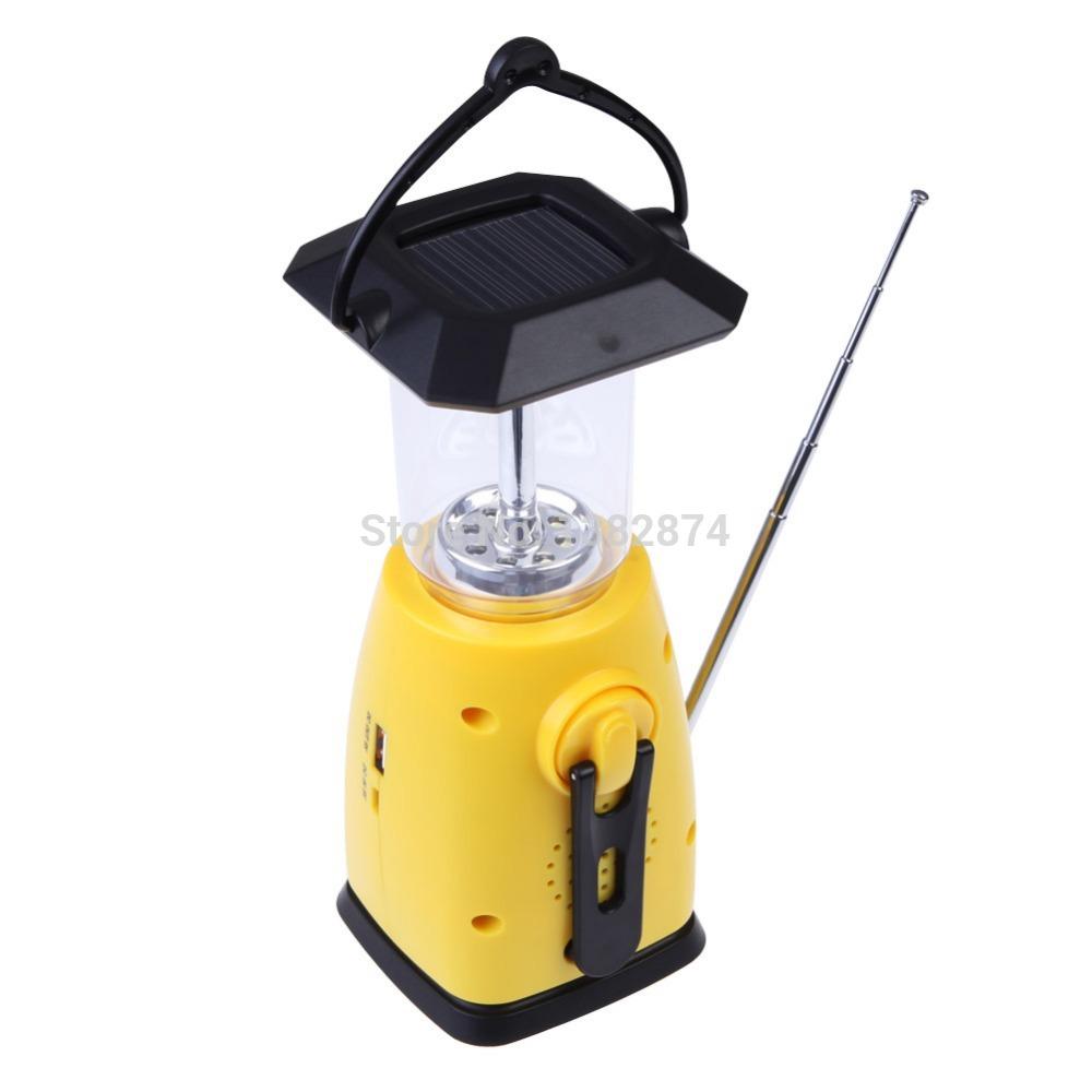 Solar Hand Crank 8 LED Camping Lantern With AM FM NOAA Weather Radio A V9