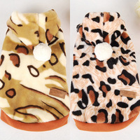 Leopard Stripes Soft Hoodie Fleece Coat Costume Jacket For Small Dog Cat Pet  Wholesale Free Shipping