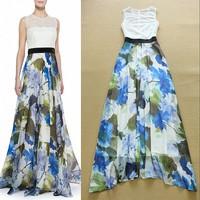 2015 New Design Fashion  Woman's Fresh Printed Sleeveless Maxi Dress Summer Beach Chiffon Dress F16779