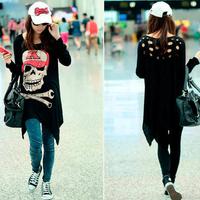2015 Camisetas Femininas Women Tops The Princess ~ Korean Women Loose Big Code Skull When Section Of Hollow Grounding T-shirt