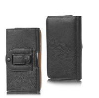 Retro Style Black Leather Case Pouch Holster Belt Clip Case Flip Protective Cover For Leagoo Lead 3S 4.5 inch Smartphone