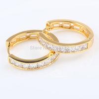 24k Yellow Gold Filled Womens Hoop Earrings with 8pcs Channel Settings Czs Statement  Earrings