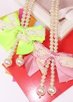 2015 New Fashion Women  Pearl Chunky Ribbon Chain Diamante long Necklace Sweater chain