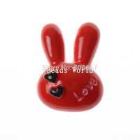 Wholesale Free Shipping 20 Pcs Red Love Rabbit Flatback Resin Scrapbook Embellishment DIY Phone Decoration 22x16mm(W04493)