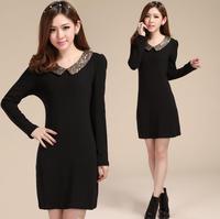 2015 M L XL 2XL 3XL Plus Size Black Women Autumn Dress Vestidos Peter Pan Collar Long Sleeve Work Wear Dress,B3077