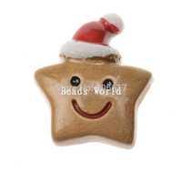 Wholesale Free Shipping 20 Coffee Star Christmas Hat Flatback Resin Scrapbook Embellishment DIY Phone Decoration 26x23mm(W04480)