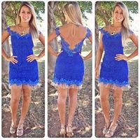 2015 New Vestido De Renda Evening Party Hot Sell Women Ladies European Sexy Lace Dress Short Sleeve Blue Summer Dresses PlusSize