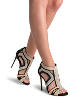 Drop Shipping Black Leather Crystal Embellished Sandals High Heels Cage Shoes For Women Size 34-41