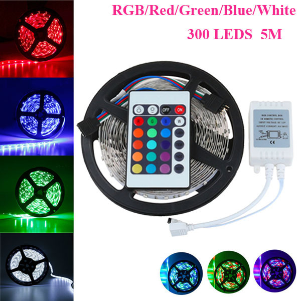 5M 12V DC SMD 3528 LED Flexible Strip Light Non Waterproof White Warm White Red Green Blue RGB + 24 Key IR Remote Controller(China (Mainland))