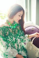 Korea Elegance OL Lace shirts Leaf Print Woman's chiffon Blouses Hollow Out Sexy tops Blusas Femininas Plus loose S-XXL T-053