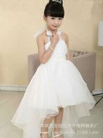 Girls dress chiffon solid girls Pearl belt princess dress girls clothing party dress kids wedding dress girls clothing CD46