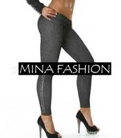 New Arrival Faux Jeans Leggings High Quality Fashion High Elastic Soft Legging For Women wf-3014