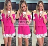 Casual Dress Real Polyester Chiffon Straight Short Solid Women Dress 2015 Vestidos New Sexy Lace Collar Vestido De Festa Summer