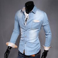 2015 free shipping fashion tuen-down collar cowboy shirt solid long sleeve  Easy to match clothes mens casual shirt UC802