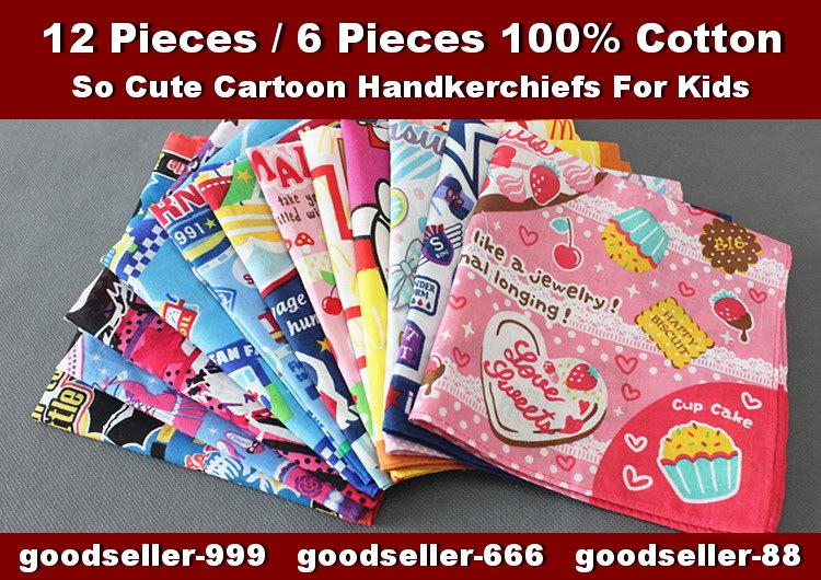 6 pieces / half dozen 30cm x 30cm cartoon pattern 100% cotton handkerchiefs for children / kids(China (Mainland))
