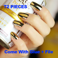 72 pieces gold false nails tips acrylic fake nails unhas posticas nail gold