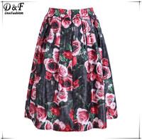 Saias Femininas Skirts Womens 2015 Sheiside Desigual Summer Female High Waist Vintage Red Elastic Waist Floral Print Midi Skirt