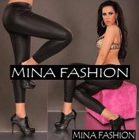 New Arrival Faux Leather Leggings With Diamonds Fashion Elastic Sexy Slim Legging For Women wf-3018