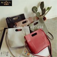 New 2015Vintage Women Hand bag Fashion High Quanlity Joker Brief Natural Color PU Leather Elegant Single Shoulder Messenger Bags
