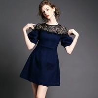 0109 New 2015 Spring Fashion Black Lace Patchwork Elastic Denim Elegant Casual Dress Women Short Sleeve Above Knee Party Dresses