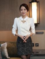 S-XXL 2015 Spring New women's Lace shirts lace Patchwork Fashion Lady Elegance Blouses Cute Floral Chiffon blouse vintage tops