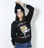Fleece women girl funny cartoon character man letter printed crew neck sweatshirts 2015 hoodies harajuku fashion hood Nora10763