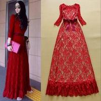 Hot-selling Celebrity Fashion Woman's Crochet Lace Elegant Long Formal Dress Date Prom Dress Free Shipping F16780