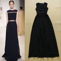 2015 Runway Fashion Sleeveless Sheer Waist Designer Women Maxi Dress Long Formal Dress Free Shipping  F16782