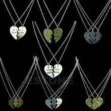 Friends Best Forever Memorable Love Silver Alloy Necklace Split Heart Pendant