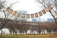 JUST MARRIED wedding banner party decoration rectangle design shape 1 SET