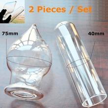 2 peças grande grande pirex tubo oco dildo falsificados penis bundas vidro plug anal feminino masculino produtos para adultos brinquedos sexuais set para mulheres homens(China (Mainland))