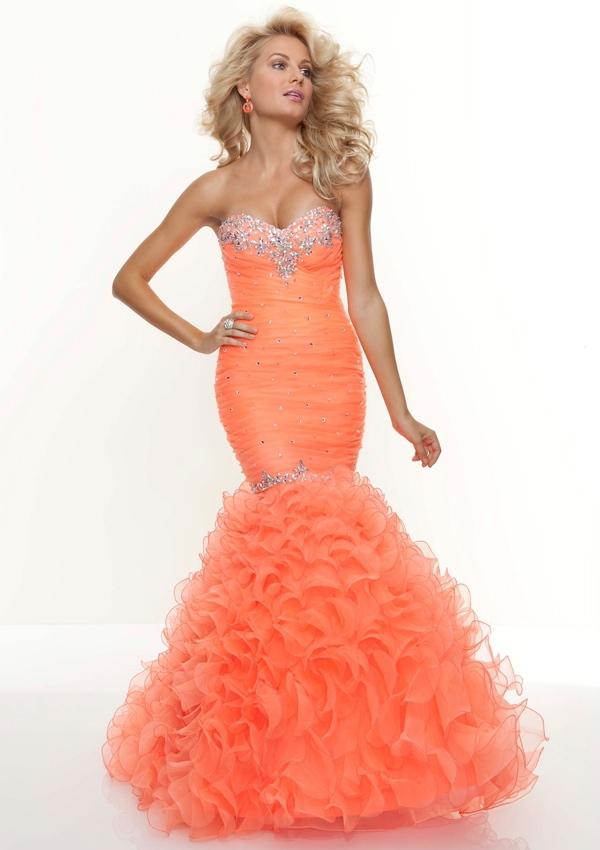 Bright Orange Mermaid Prom Dresses Orange Mermaid Prom Dress