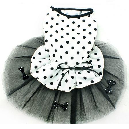 Платье для собак Одежда лето 2015 новейшие товары для животных милый черно-белая точка бантом принцесса собаку костюмы Размер xs s m l