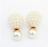 Beige color double pearl design earring women top fashion pearl earring brand cc earring women