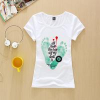Wild fashion T-shirt 2015 High Quality 3D Print Short Sleeve Brand T-shirt bust 78 Size Women T Shirt keep the feet off my desk