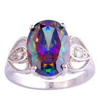 2015 New Fashion Mysterious Rainbow Sapphire 925 Silver Ring Size 6 7 8 9 10  Cupid Women Jewelry Free Shipping Wholesale